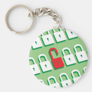 Panel of locks with one lock unlocked Security Basic Round Button Keychain