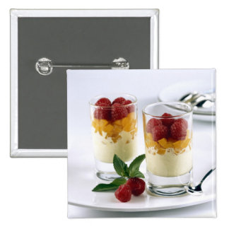 Panful of mango on a vanilla ice-cream For 2 Inch Square Button
