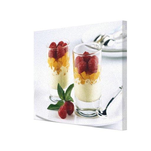 Panful of mango on a vanilla ice-cream For Canvas Prints