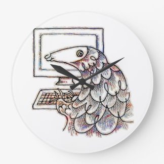 Pangolin on a computer clocks