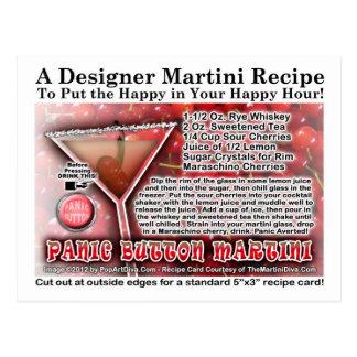 Panic Button Martini Recipe Postcard
