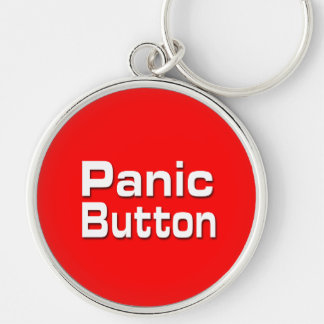 Panic Button Silver-Colored Round Keychain