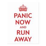 Panic Now and Run Away Post Card