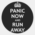Panic Now and Run Away Round Stickers