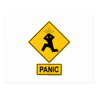 Panic Warning Sign Postcard