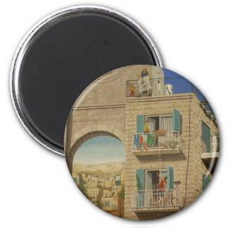 Panited wall of a house in Jerusalem Magnets