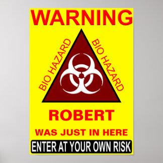 Panneau d'avertissement de salle de bains (de nom  poster