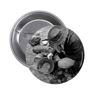 Panning for Gold Black and White 2 Inch Round Button
