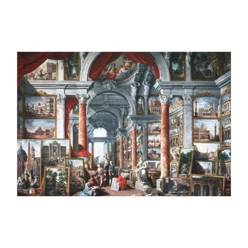 Pannini - Gallery of Views of Modern Rome Gallery Wrapped Canvas