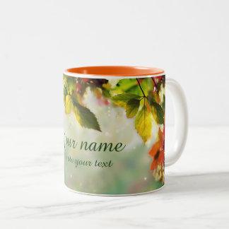Panorama: Autumn, leaves, sheets, colored Two-Tone Coffee Mug