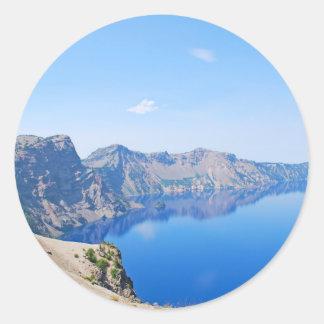 Panorama Crater Lake Round Sticker