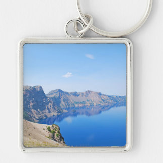 Panorama Crater Lake Silver-Colored Square Keychain