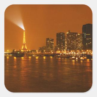 Panorama d'horizon de nuit de Pont Mirabeau Paris Sticker Carré