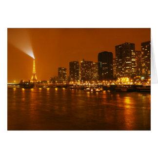 Panorama d'horizon de nuit de Pont Mirabeau Paris  Carte De Vœux