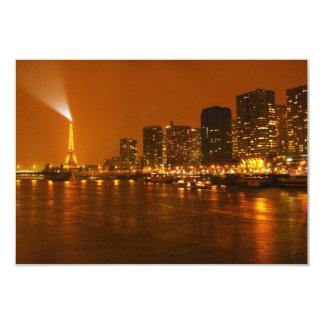 Panorama d'horizon de nuit de Pont Mirabeau Paris Carton D'invitation 8,89 Cm X 12,70 Cm