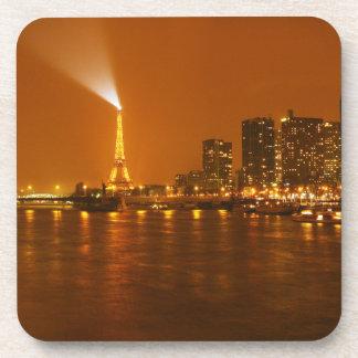 Panorama d'horizon de nuit de Pont Mirabeau Paris  Sous-bock