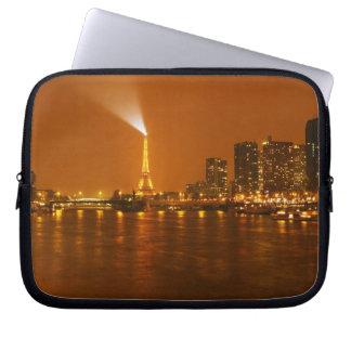Panorama d'horizon de nuit de Pont Mirabeau Paris  Trousses Pour Ordinateur Portable