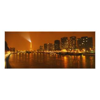 Panorama d'horizon de nuit de Pont Mirabeau Paris  Photographie D'art
