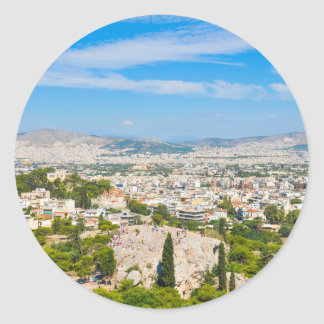 Panorama of Athens, Greece Classic Round Sticker