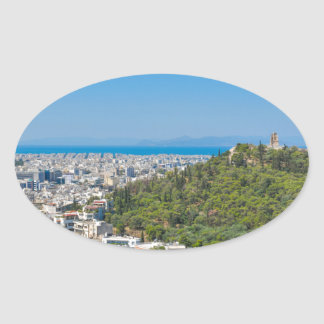 Panorama of Athens, Greece Oval Sticker