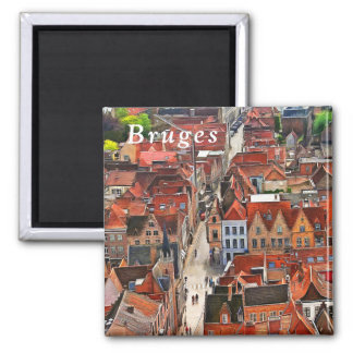 Panorama of Bruges from the Belfort tower. Magnet