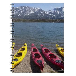 Panorama of kayaks on Bernard Lake in Alaska 2 Notebook