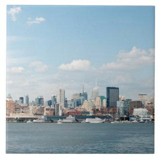 Panorama of Midtown Manhattan over Hudson River Ceramic Tile
