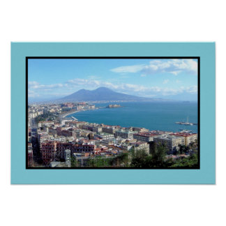 Panorama of Naples (Italy) Poster