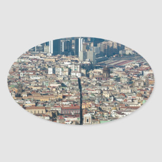 Panorama of Naples Oval Sticker