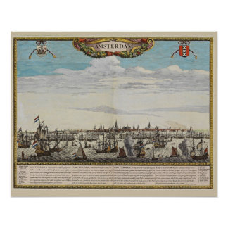 Panorama of old Amsterdam Poster