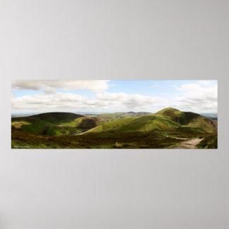 Panorama of Pentland Hills in Edinburgh, Scotland Poster