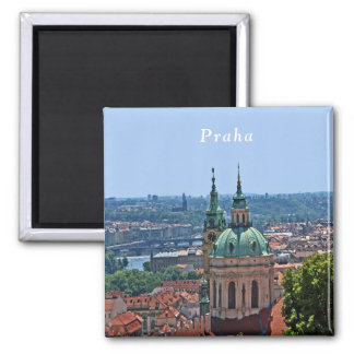 Panorama of Prague and the church of St. Nicholas. Magnet