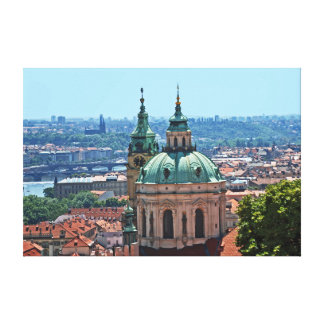 Panorama of Prague with the church of St. Nicholas Canvas Print