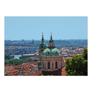 Panorama of Prague with the church of St. Nicholas Poster