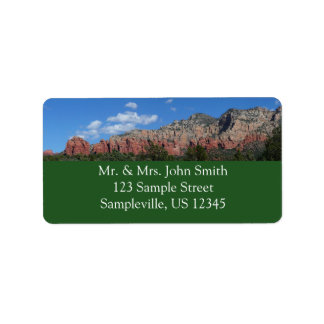 Panorama of Red Rocks in Sedona Arizona Label
