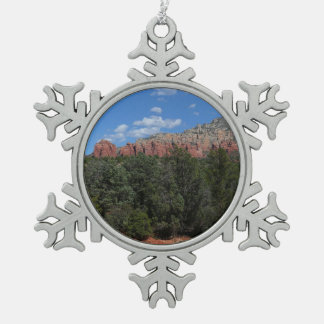 Panorama of Red Rocks in Sedona Arizona Snowflake Pewter Christmas Ornament