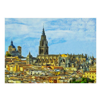 Panorama of the historical part of Toledo Poster