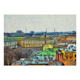 Panorama of the Palace Square  with the Hermitage Poster