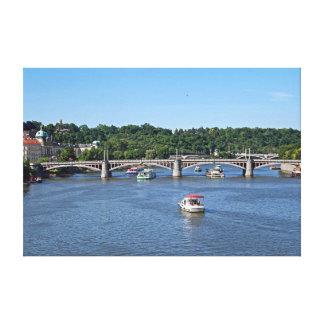 Panorama of the Vltava River in Prague. Canvas Print