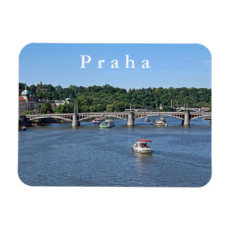 Panorama of the Vltava River in Prague. Magnet