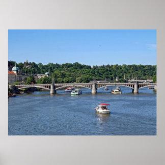 Panorama of the Vltava River in Prague. Poster