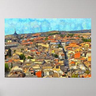 Panorama of Toledo. Poster