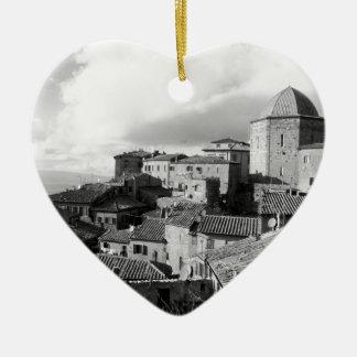 Panorama of Volterra village, province of Pisa Ceramic Heart Ornament