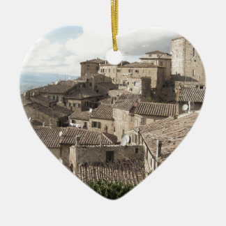 Panorama of Volterra village, province of Pisa Ceramic Heart Ornament