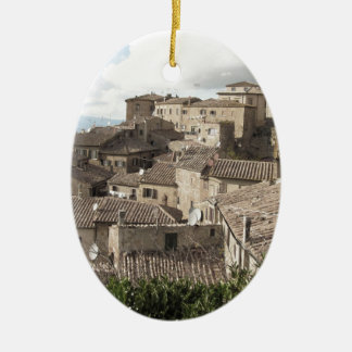 Panorama of Volterra village, province of Pisa Ceramic Oval Ornament