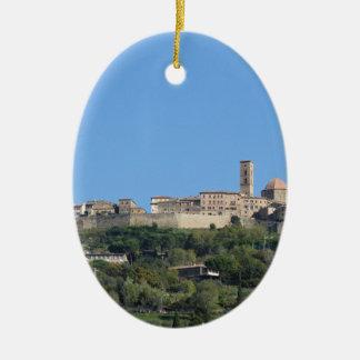 Panorama of Volterra village, province of Pisa Ceramic Oval Ornament