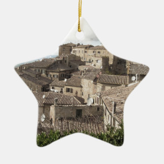 Panorama of Volterra village, province of Pisa Ceramic Star Ornament