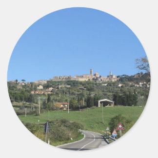 Panorama of Volterra village, province of Pisa Classic Round Sticker