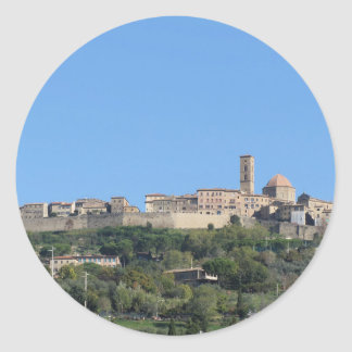 Panorama of Volterra village, province of Pisa Classic Round Sticker