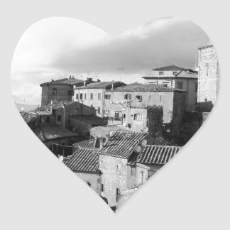 Panorama of Volterra village, province of Pisa Heart Sticker